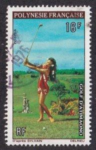 French Polynesia # 275, Polynesian Woman Golfer, Used, 1/3 Cat.