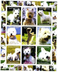 Kyrgyzstan 2000 West Highland Terrier Sheet Perforated mnh.
