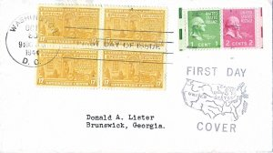 #E18 Special Delivery FDC, 17c Motorcycle, general purpose cachet, block of 4
