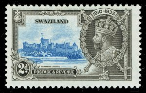 [sto641] SWAZILAND 1935 Silver Jubilee SG22a. 2d Extra flagstaff variety MNH