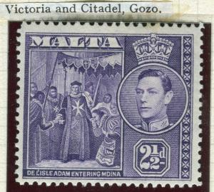 MALTA; 1938 early GVI pictorial issue fine Mint hinged 2.5d. value