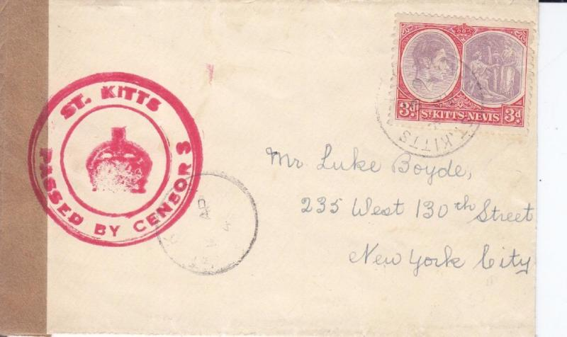 1940, St. Kitts to NYC, Censored, See Remark (C444)