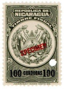 (I.B) Nicaragua Revenue : Duty Stamp 100CD (ABN Specimen)