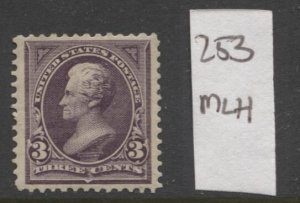 STAMP STATION PERTH USA #253 Jackson F/VF MH- Double Lined Wmk.1894