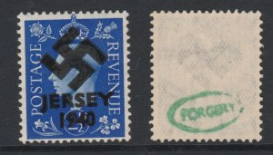 Jersey 1940 Swastika opt on Great Britain KG6 2,5d blue