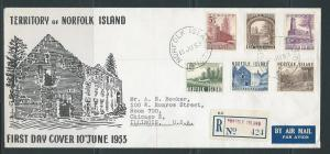 Norfolk Islands 13-8 1953 Views Registered FDC to US