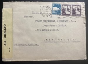 1942 Tel Aviv Palestine Airmail Censored Cover To Rosenthal Co New York USA