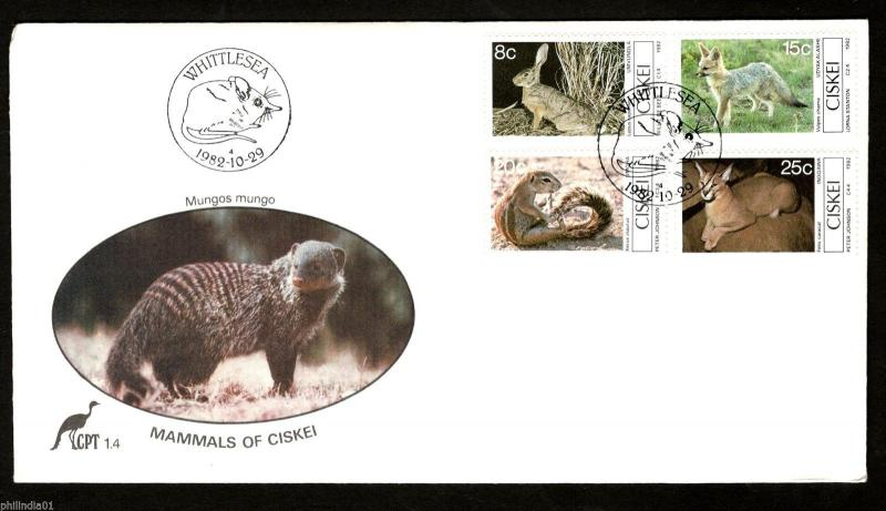Ciskei 1982 Small Mammals Caracal Wildlife Animals Rodent Sc 42-45 FDC # 16251