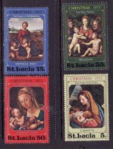 St Lucia-Sc#345-8-unused light hinged set-Christmas-Paintings-1973-