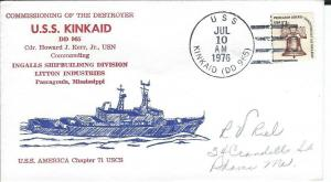 KINCAID (DD-965) 10 Jul 76  1st Day in Commission USS America Chap Cachet