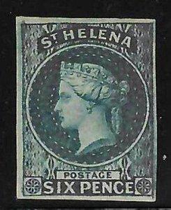 SAINT HELENA #1 MINT - 1856 VICTORIA 6d BLUE, IMPERF