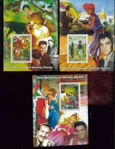 ELVIS PRESLEY + WALT DISNEY Souvenir Sheet Set x3 MNH - Somalia & Rep E19
