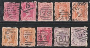 VICTORIA QV 1d & 2d x 10 with numeral cancels...............................A110