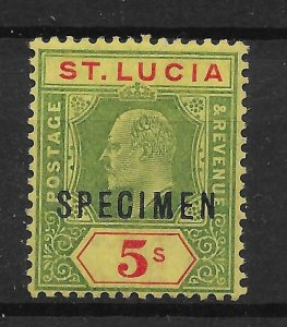 ST.LUCIA SG77s 1907 5/= GREEN & RED ON YELLOW SPECIMEN MTD MINT