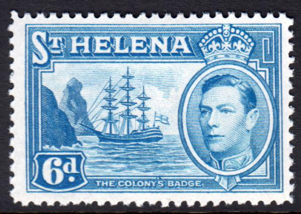 St. Helena KGVI 1938 6d Light Blue SG136 Mint Very Lightly Hinged