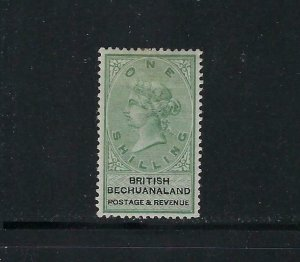 BECHUANALAND PROTECTORATE SCOTT #16  1887 WMK 14- ONE SHILLING - MINT  HINGED