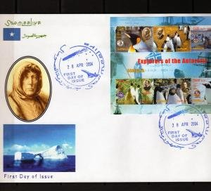 Somalia 2004 EXPLORERS OF THE ANTARCTIC PENGUIN Sheet Perforated in official FDC