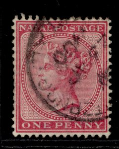 SOUTH AFRICA - Natal QV SG67, 1d bright rose, FINE USED.