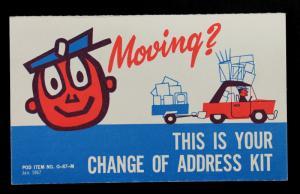 USPS Card Mr. Zippy Change of Address Card POD ITEM NO. 0-87-M Jan. 1967