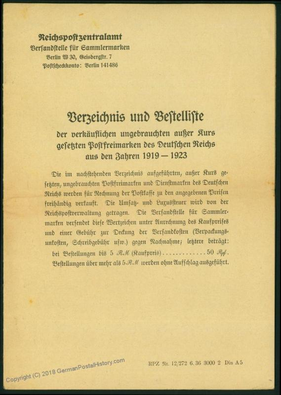Germany 1920s Inflation Official Post Office Sales Rules and Prices Bookle 61138