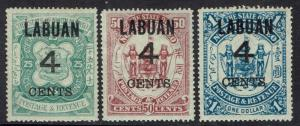 LABUAN 1899 4 CENTS OVERPRINTED ARMS 25C 50C AND $1