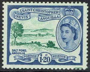 ST CHRISTOPHER NEVIS ANGUILLA 1954 QEII SALT POND $1.20 MNH **
