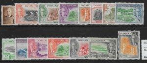 DOMINICA SG120/34 1951 DEFINITIVE SET MTD MINT