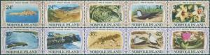 Norfolk Island 1982 SG274-283 Philip and Nepean Island strips MNH
