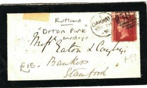 GB RUTLAND *Orton Park*Mourning Stationery 1d Red Cover 1866 Oakham Duplex AK117