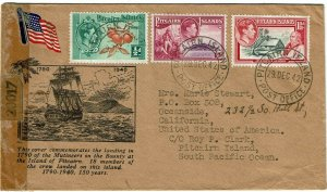 Pitcairn Island 1942 cover to the U.S., censored in the U.S., labels