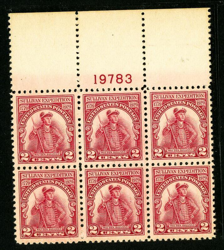 US Stamps # 657 Superb OG NH Wide Top PB of 6
