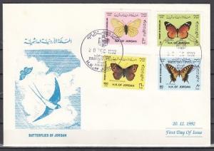 Jordan, Scott cat. 1431-1434. Butterflies issue on a First day cover. *