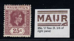 Mauritius, SG 259ba, MLH IJ Flaw variety
