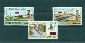 Qatar - Sc# 521-3. 1977 6th Ann. Independence. MNH $12.75.