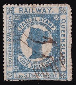 QUEENSLAND Railways 1867 QV Parcel Stamp 1/- VERY RARE!