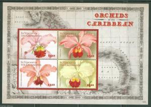 ST. VINCENT GRENADINES  2014 ORCHIDES OF THE CARIBBEAN  SHEET  MINT NH