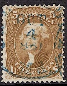 US Stamp #67 5c Buff Jefferson USED  SCV $750. Nice Blue Date Cancel