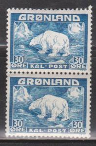 GREENLAND Scott # 7 Pair 1MNH & 1 MHR - Polar Bear