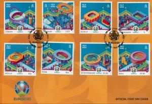 Isle of Man IOM 2021 FDC Football Stamps UEFA Euro 2020 Stadiums Sports 8v Set