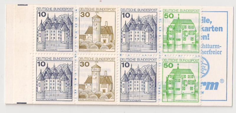 GERMANY: #1231a 10 +30 +50pf booklet, Full Booklet Mint