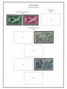 Martinique #C1-2*,C5u,C8*  CV $5.85  Airmails on album page