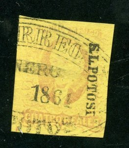 MEXICO HIDALGO 1861 SCOTT# 10 FOLLANSBEE#10 SAN LUIS POTOSI FINELY USED AS SHOWN