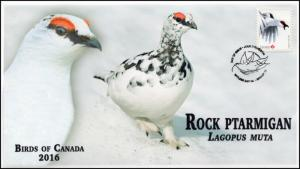 CA16-028, 2016, FDC, Birds of Canada, Rock Ptarmigan