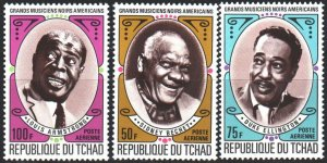 Chad. 1971. 408-10. Armstrong, musicians. MNH.