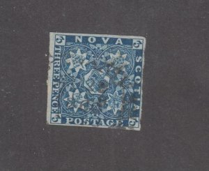 NOVA SCOTIA # 2 3d BLUE IMPERF DEAP RICH COLOUR  CAT VALUE $300 (NVS77)