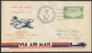 #C21 FDC FROM WASH DC TRANS-PACIFIC AIR-MAIL BL6655