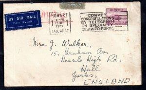 Australia 1939 5d Airmail Slogan cover to England WS14620