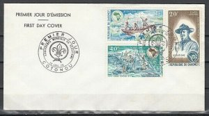 Dahomey, Scott cat. C182-C184. Boy Scout Conference issue. First day cover. *