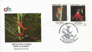 COSTA RICA 1993 TROPICAL FOREST CARE ORCHIDS FLOWERS FIRST DAY COVER FDC