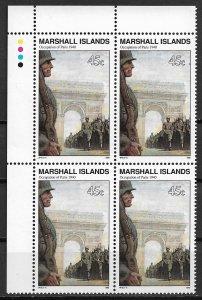 1990 Marshall Islands 254 Occupation of Paris block of 4 MNH